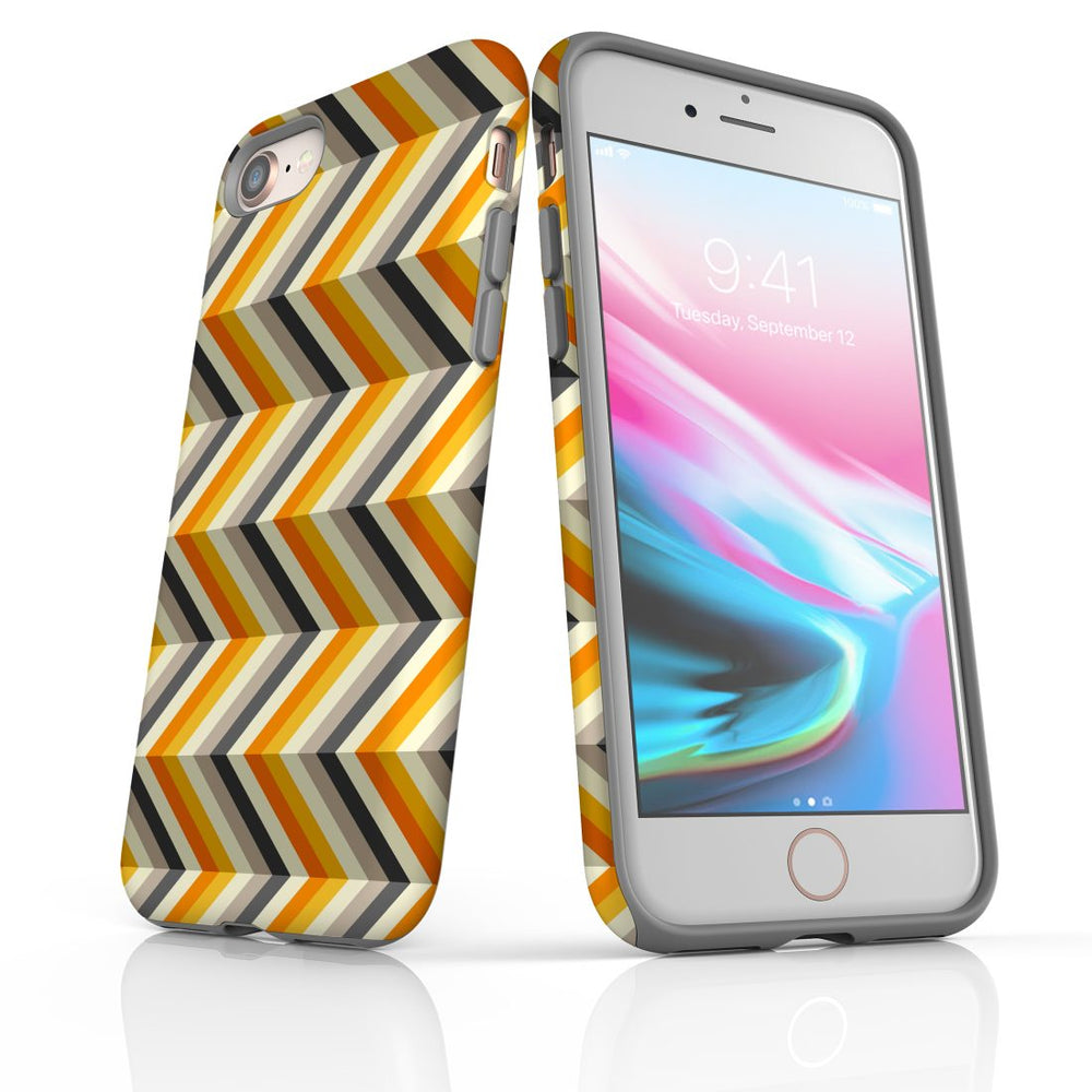 For iPhone 8/7 Protective Case, Zigzag Left Right Yellow Pattern