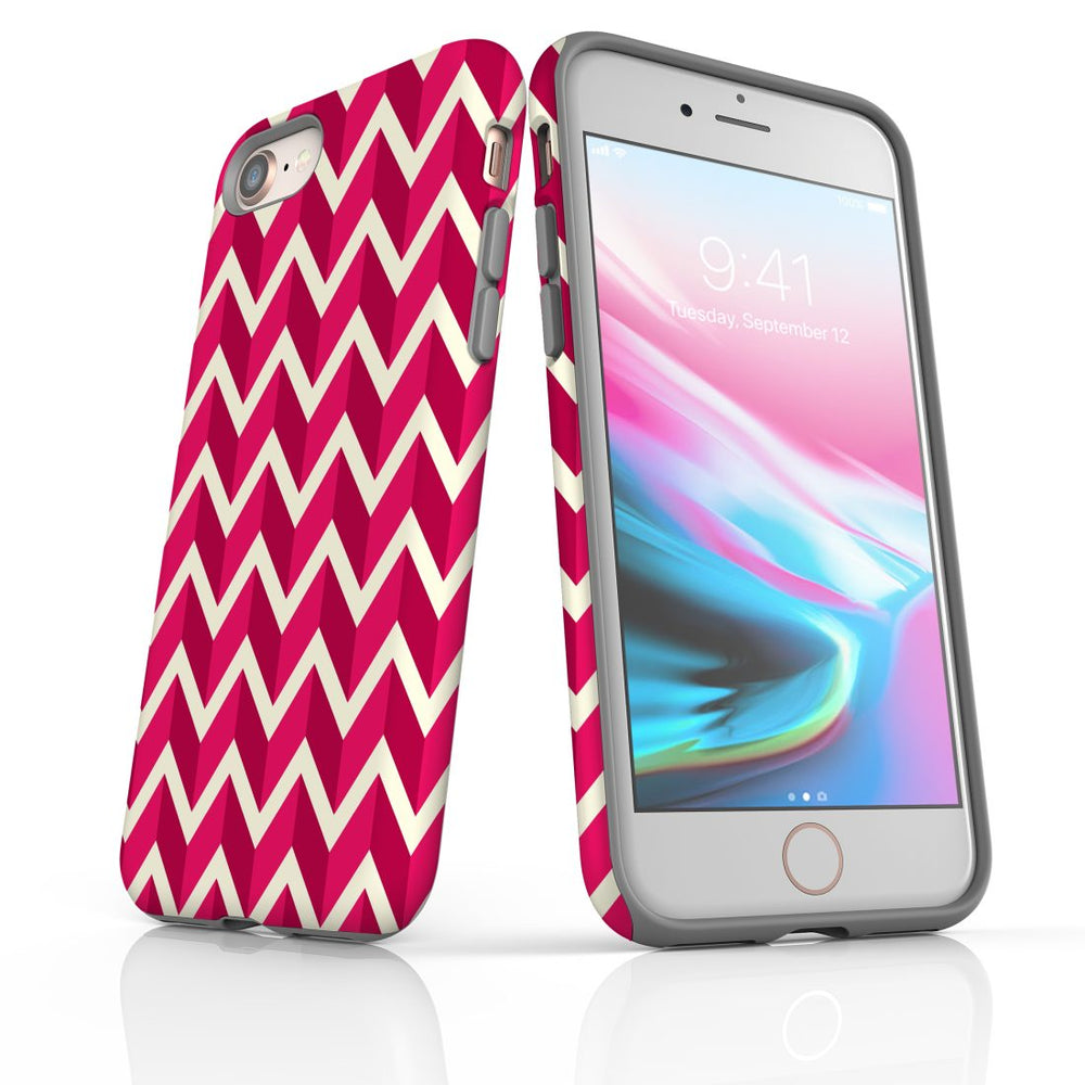 For iPhone 8/7 Protective Case, Zigzag Magenta Pattern