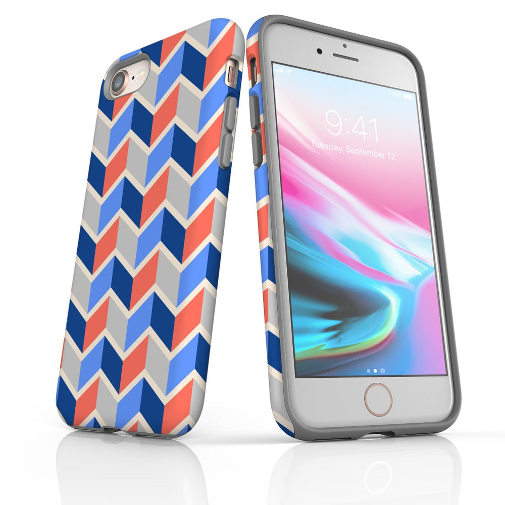 For iPhone 8/7 Protective Case, Zigzag Salmon Blue Pattern