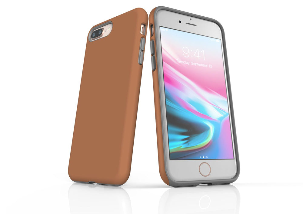 Brown iPhone 8 Plus Tough Case, Protective Back Cover