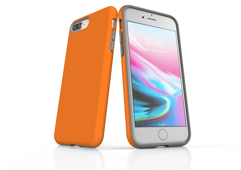 Orange iPhone 8 Plus Tough Case, Protective Back Cover