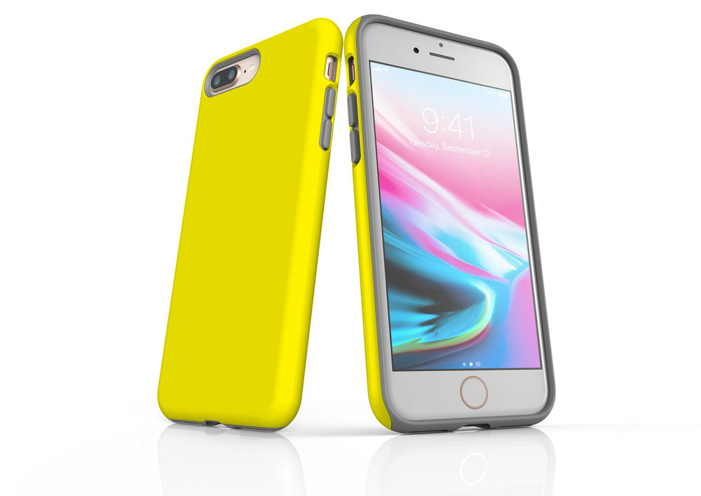 Yellow iPhone 8 Plus Tough Case, Protective Back Cover