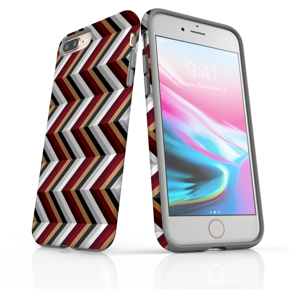 For iPhone 8/7 Plus Protective Case, Zigzag Black Brown Red Pattern