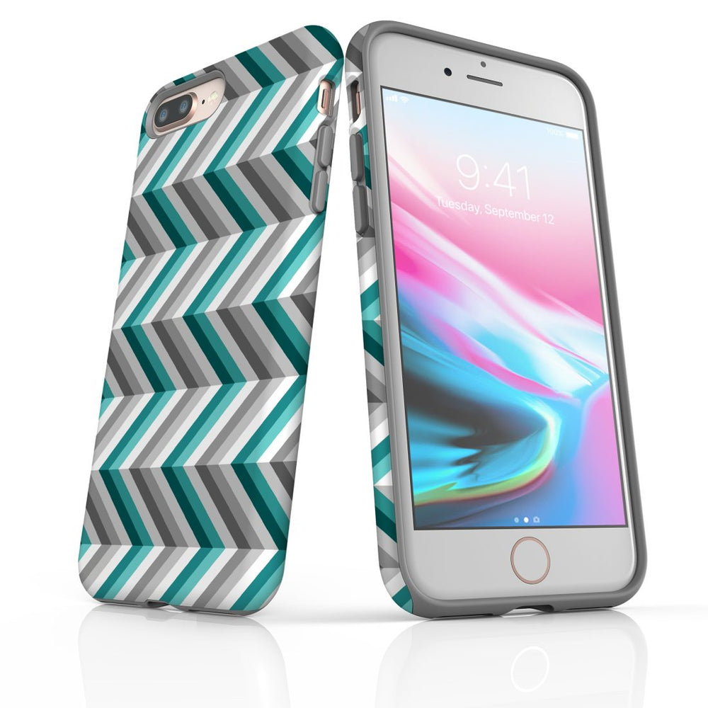 For iPhone 8/7 Plus Protective Case, Zigzag Blue Grey Pattern