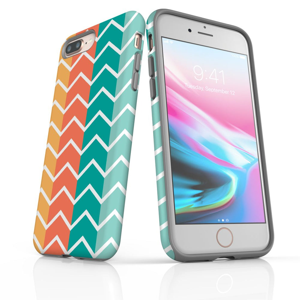For iPhone 8/7 Plus Protective Case, Zigzag Colorful Pattern