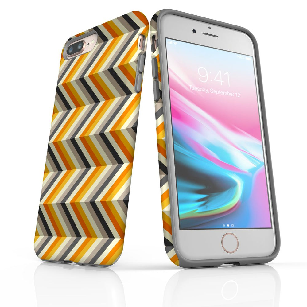 For iPhone 8/7 Plus Protective Case, Zigzag Left Right Yellow Pattern