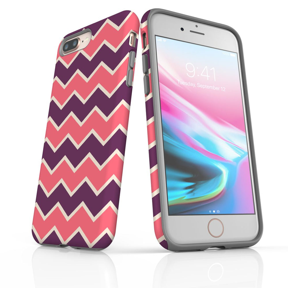 For iPhone 8/7 Plus Protective Case, Zigzag Pink Purple Pattern