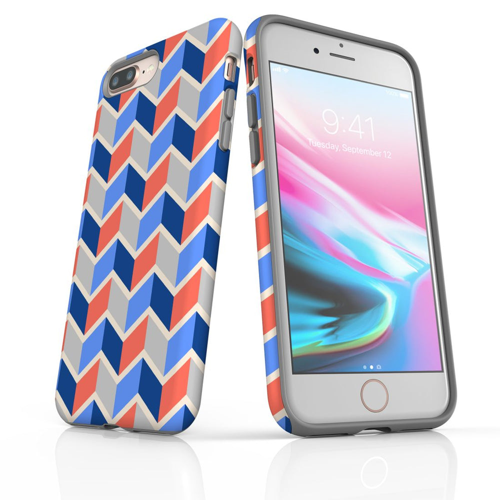 For iPhone 8/7 Plus Protective Case, Zigzag Salmon Blue Pattern