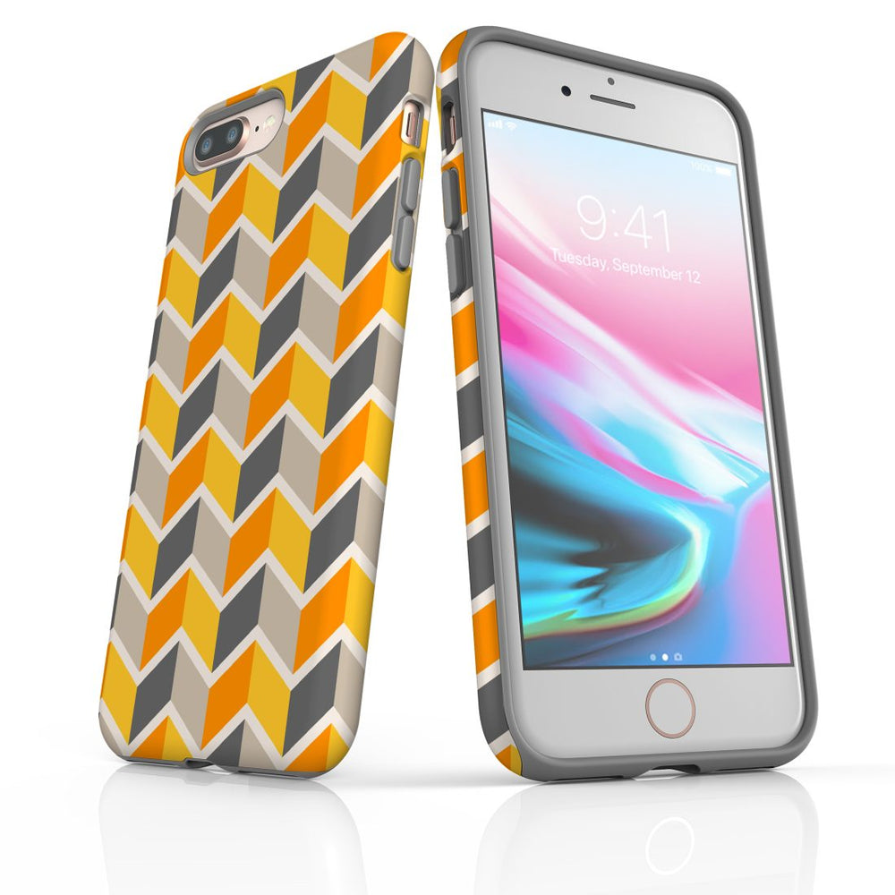 For iPhone 8/7 Plus Protective Case, Zigzag Yellow Pattern