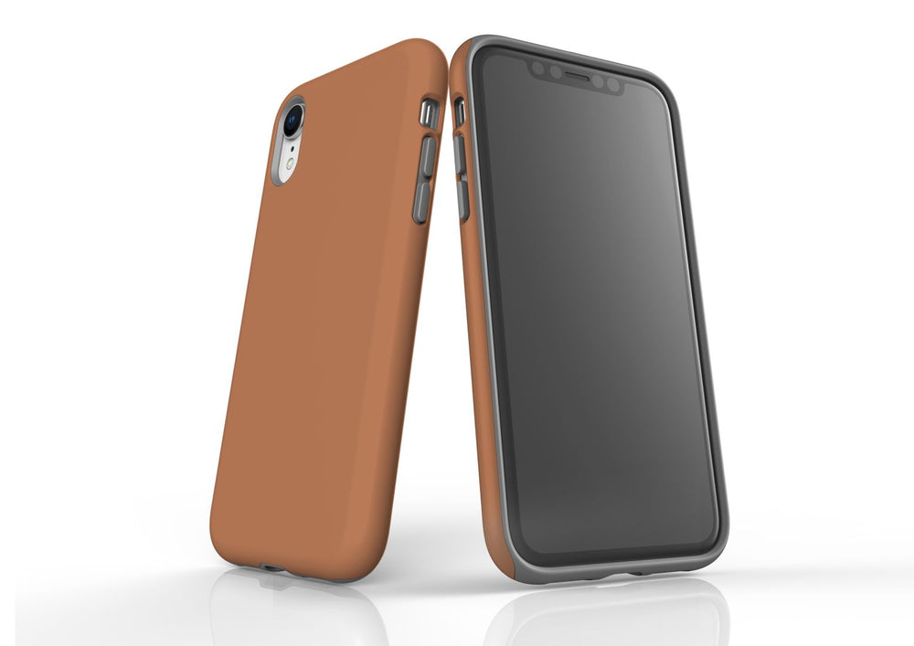 Brown iPhone XR Tough Case, Protective Back Cover