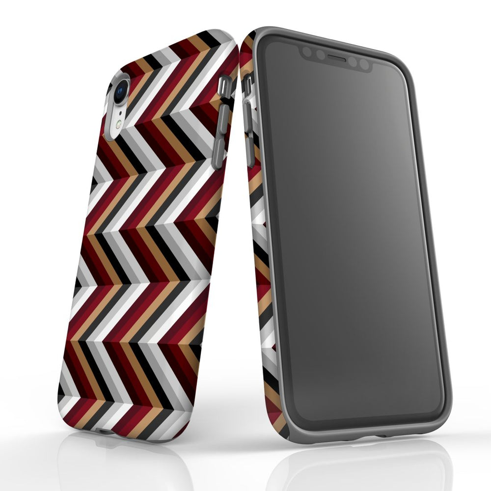 For iPhone XR Protective Case, Zigzag Black Brown Red Pattern