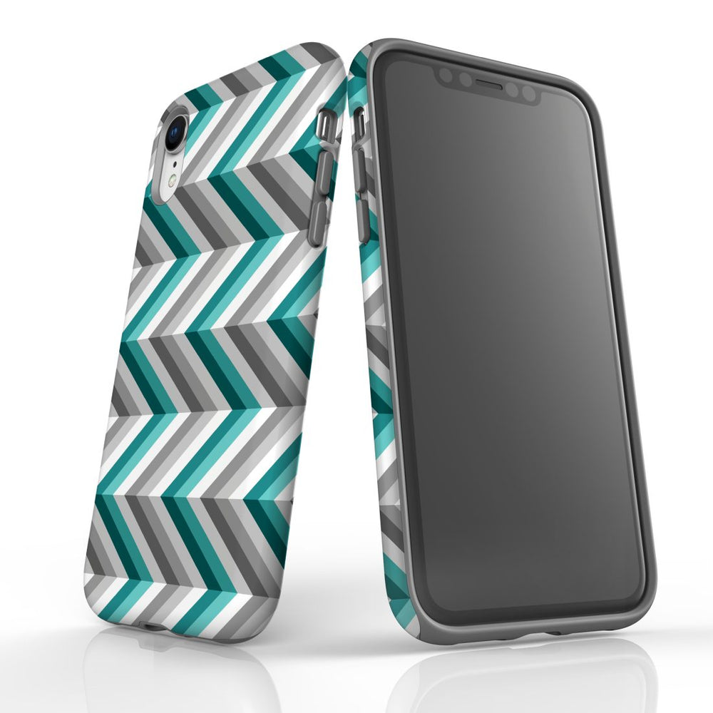 For iPhone XR Protective Case, Zigzag Blue Grey Pattern