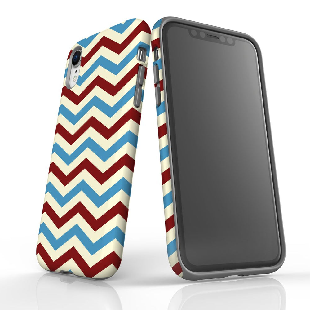 For iPhone XR Protective Case, Zigzag Blue Red Pattern
