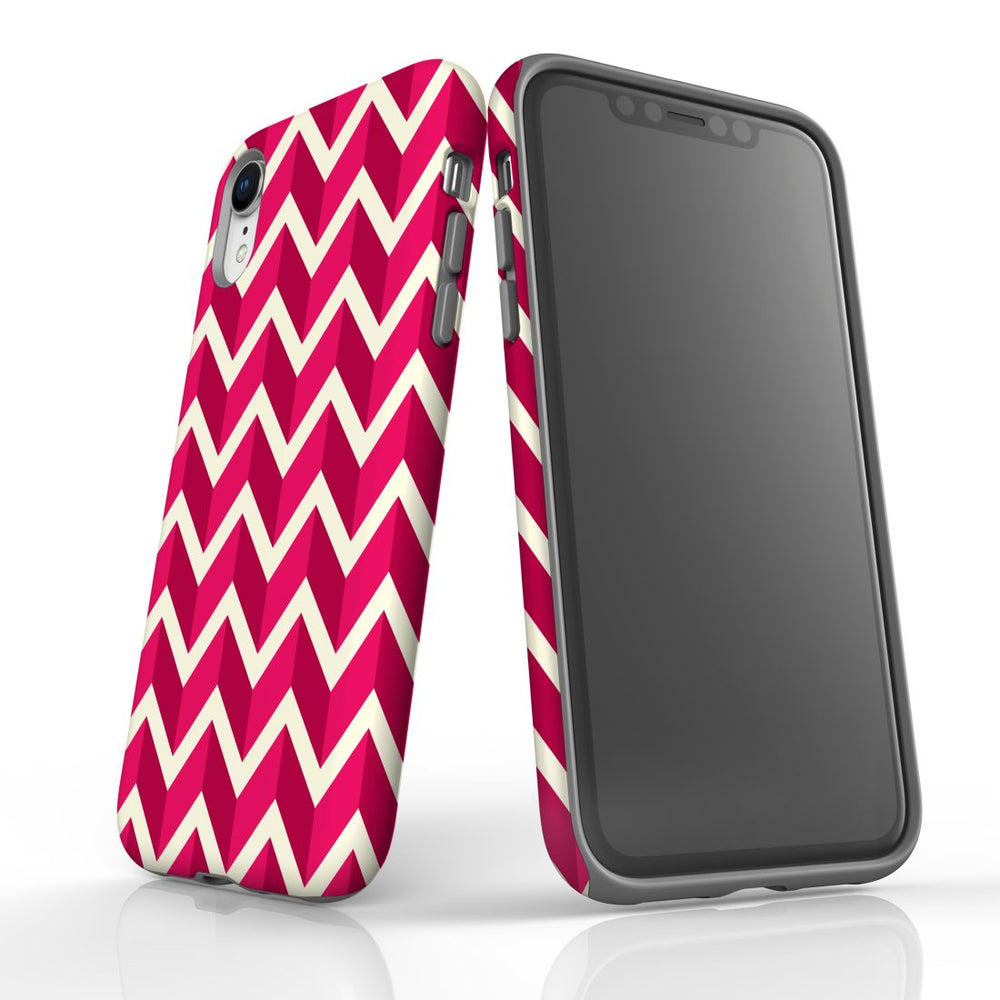 For iPhone XR Protective Case, Zigzag Magenta Pattern