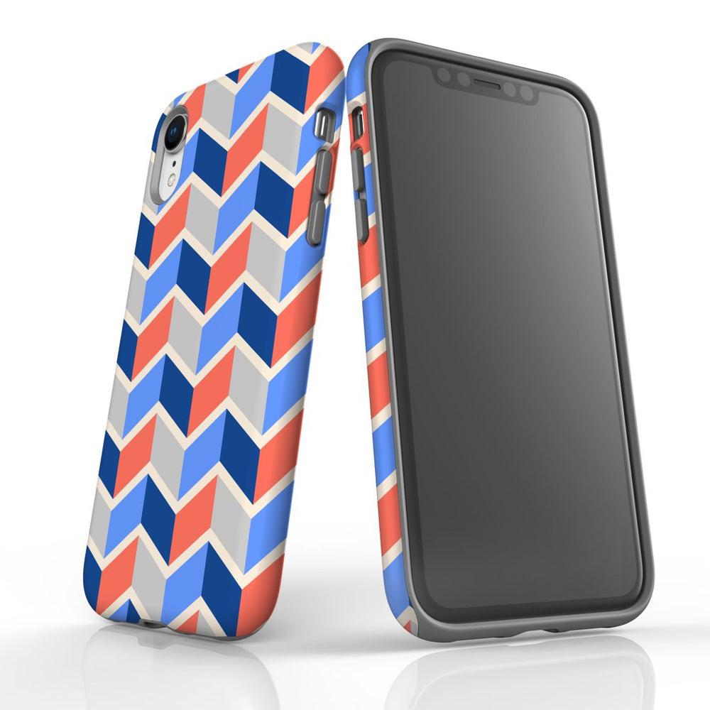 For iPhone XR Protective Case, Zigzag Salmon Blue Pattern