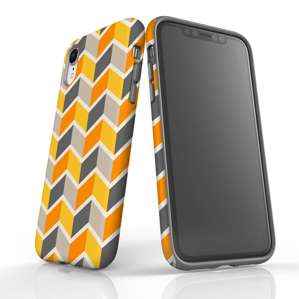 For iPhone XR Protective Case, Zigzag Yellow Pattern