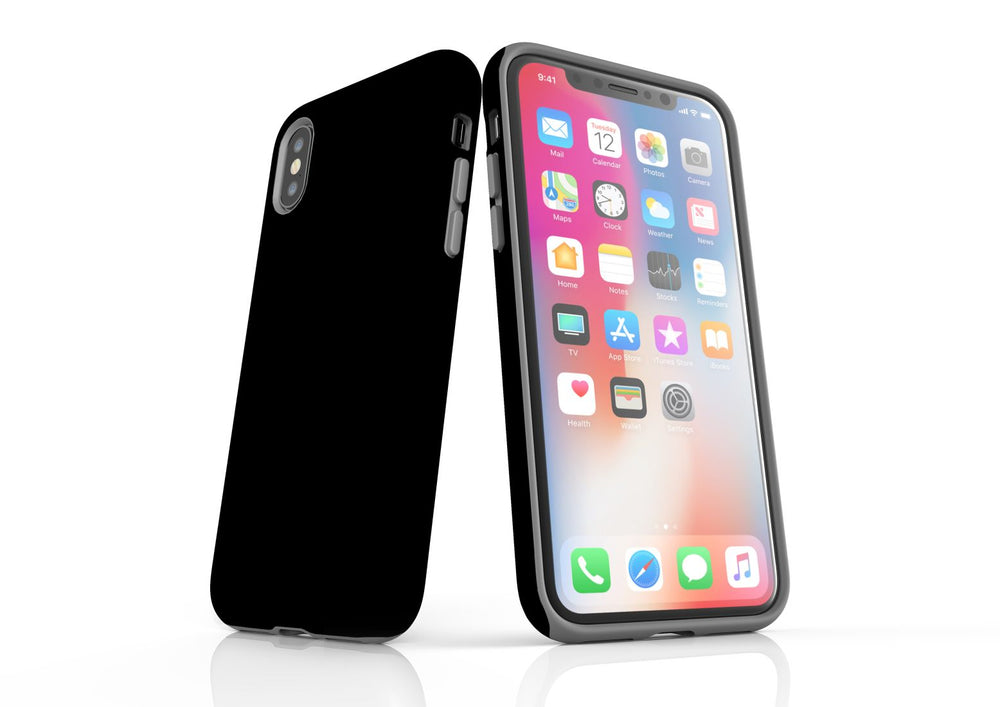 Black iPhone XS Tough Case, Back Protective Cover