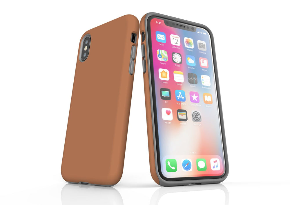 Brown iPhone XS Tough Case, Protective Back Cover