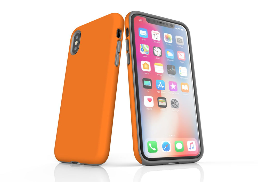 Orange iPhone XS Tough Case, Protective Back Cover