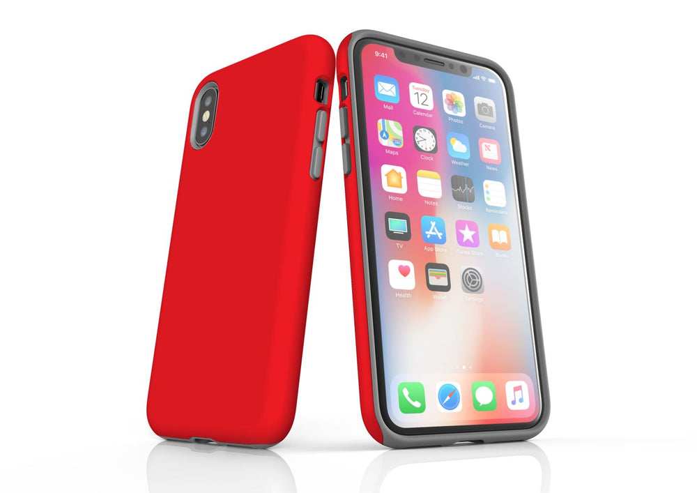 Red iPhone XS Tough Case, Protective Back Cover
