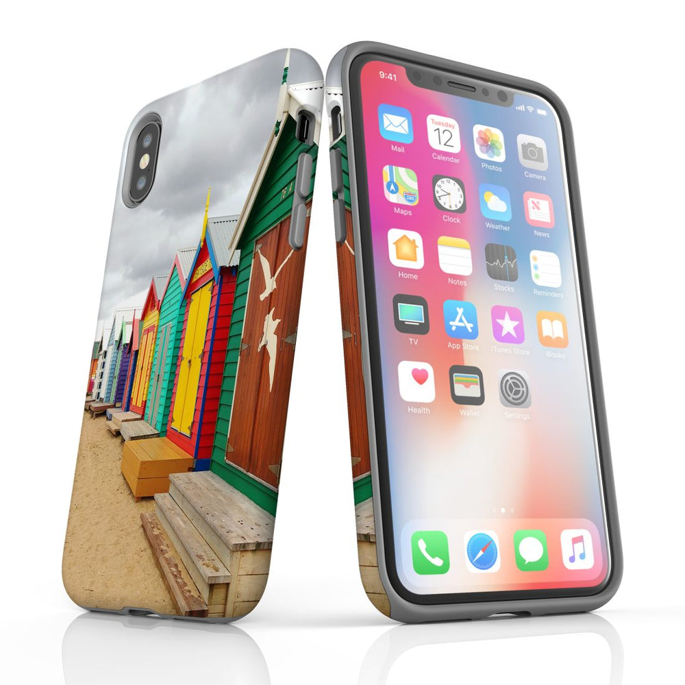 iPhone XS/X Case Armoured Tough Cover,Brighton Bathing Boxes
