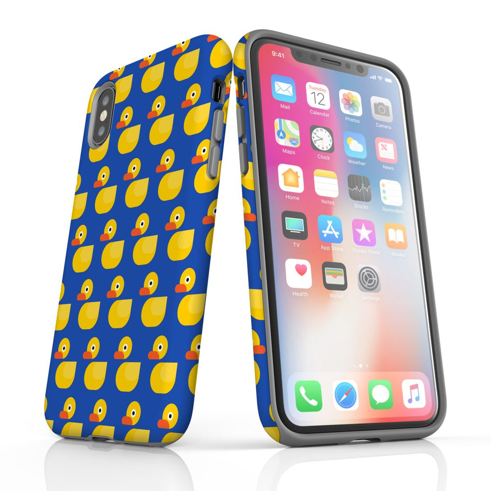 For iPhone XS/X Protective Case, Yellow Duckies Pattern