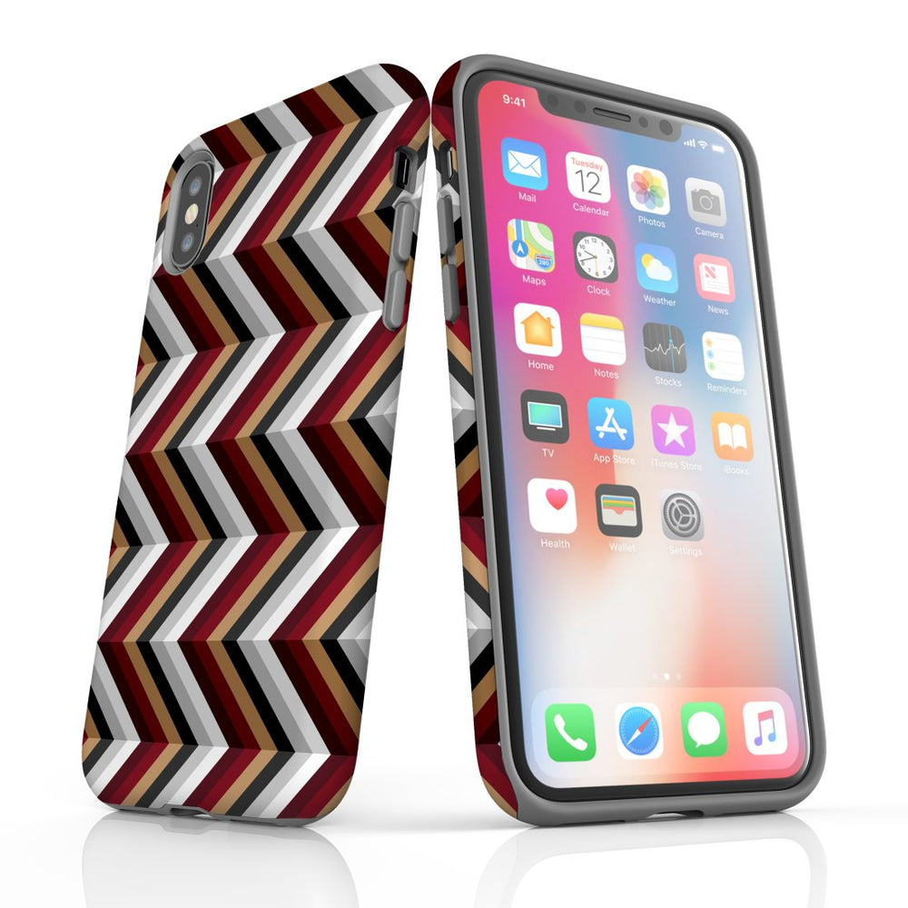For iPhone XS/X Protective Case, Zigzag Black Brown Red Pattern