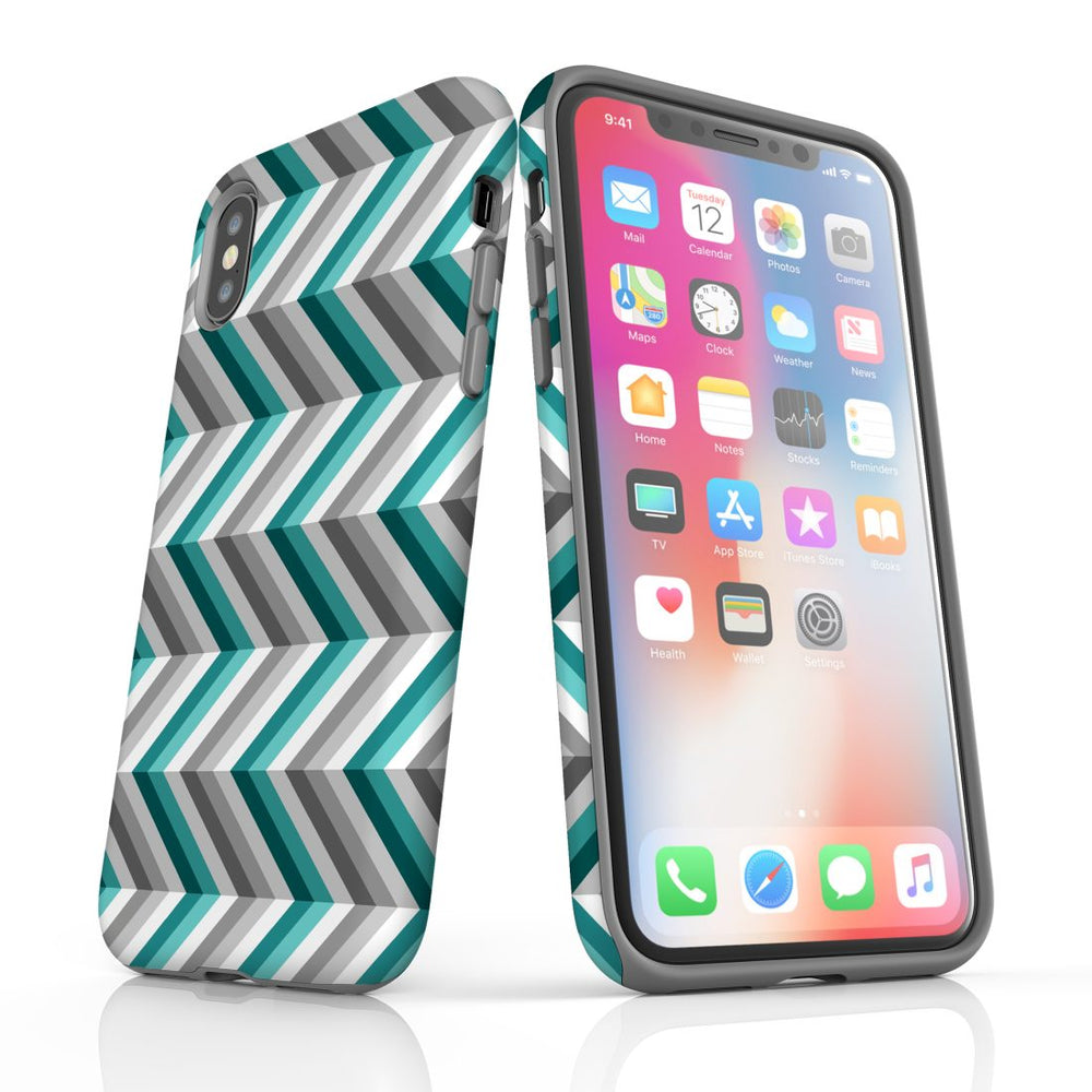 For iPhone XS/X Protective Case, Zigzag Blue Grey Pattern