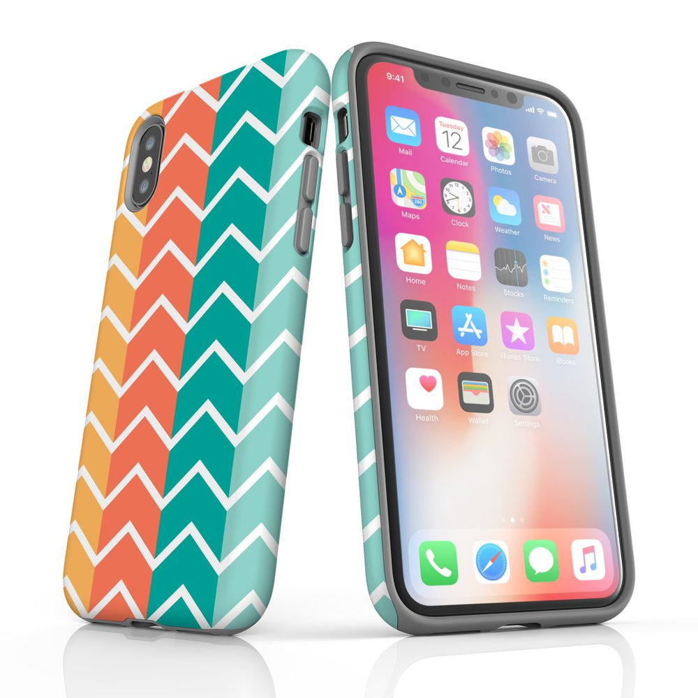 For iPhone XS/X Protective Case, Zigzag Colorful Pattern