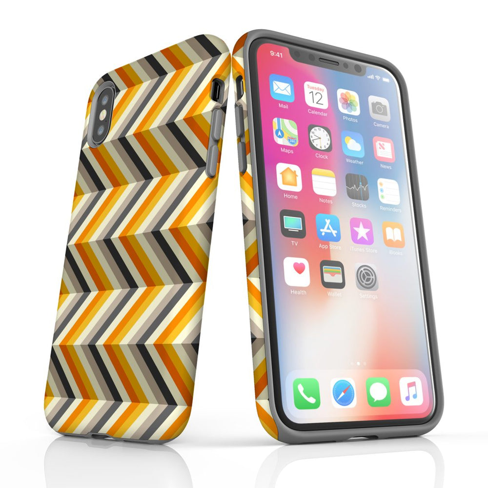 For iPhone XS/X Protective Case, Zigzag Left Right Yellow Pattern