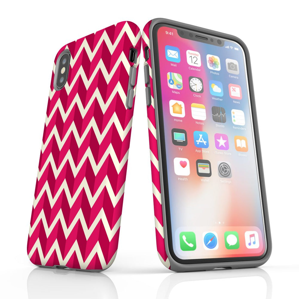 For iPhone XS/X Protective Case, Zigzag Magenta Pattern