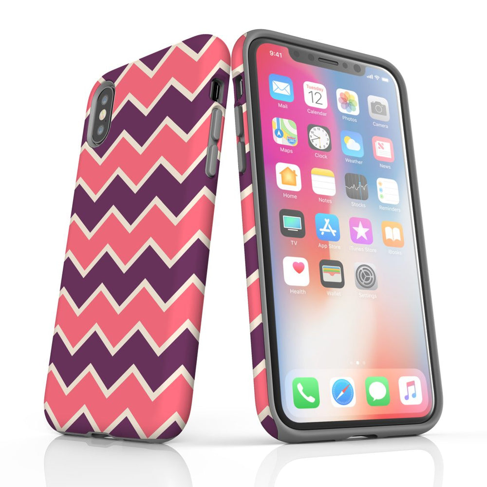 For iPhone XS/X Protective Case, Zigzag Pink Purple Pattern