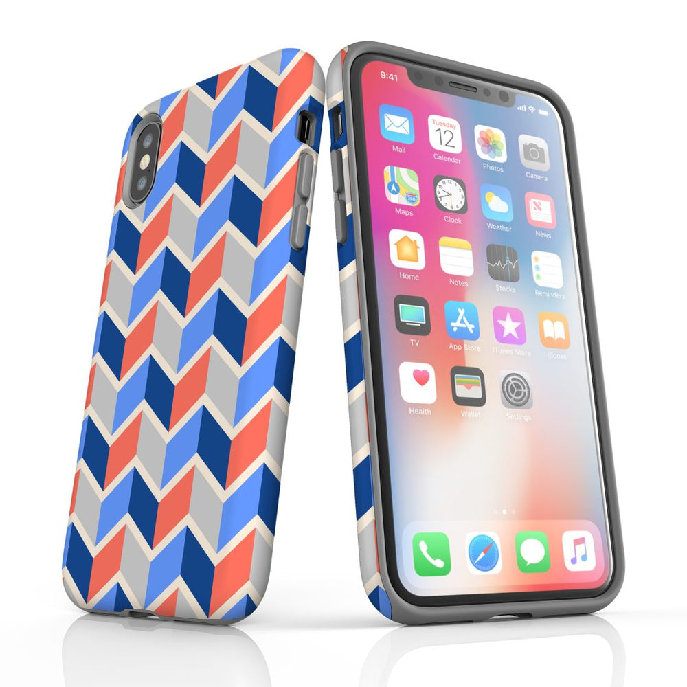 For iPhone XS/X Protective Case, Zigzag Salmon Blue Pattern