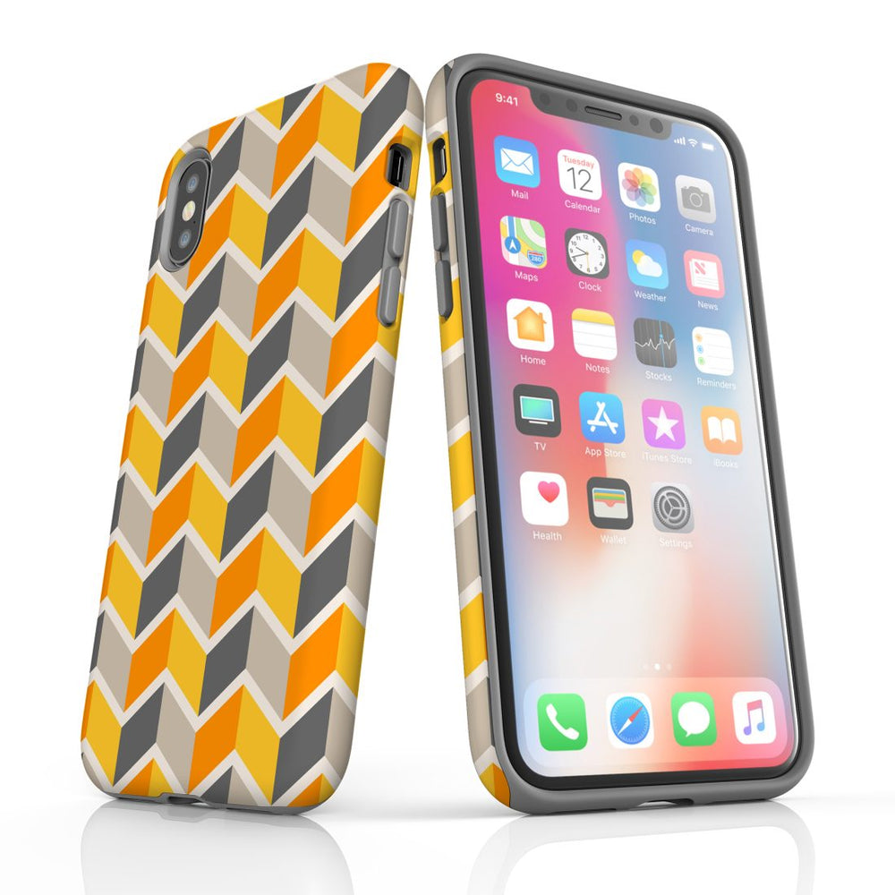 For iPhone XS/X Protective Case, Zigzag Yellow Pattern