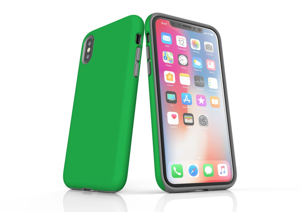 Green iPhone XS Max Tough Case, Protective Back Cover