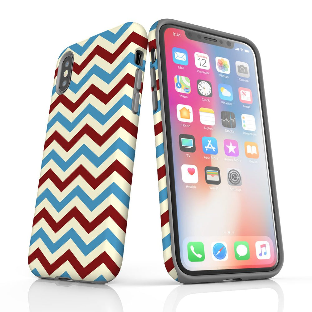For iPhone XS Max Protective Case, Zigzag Blue Red Pattern