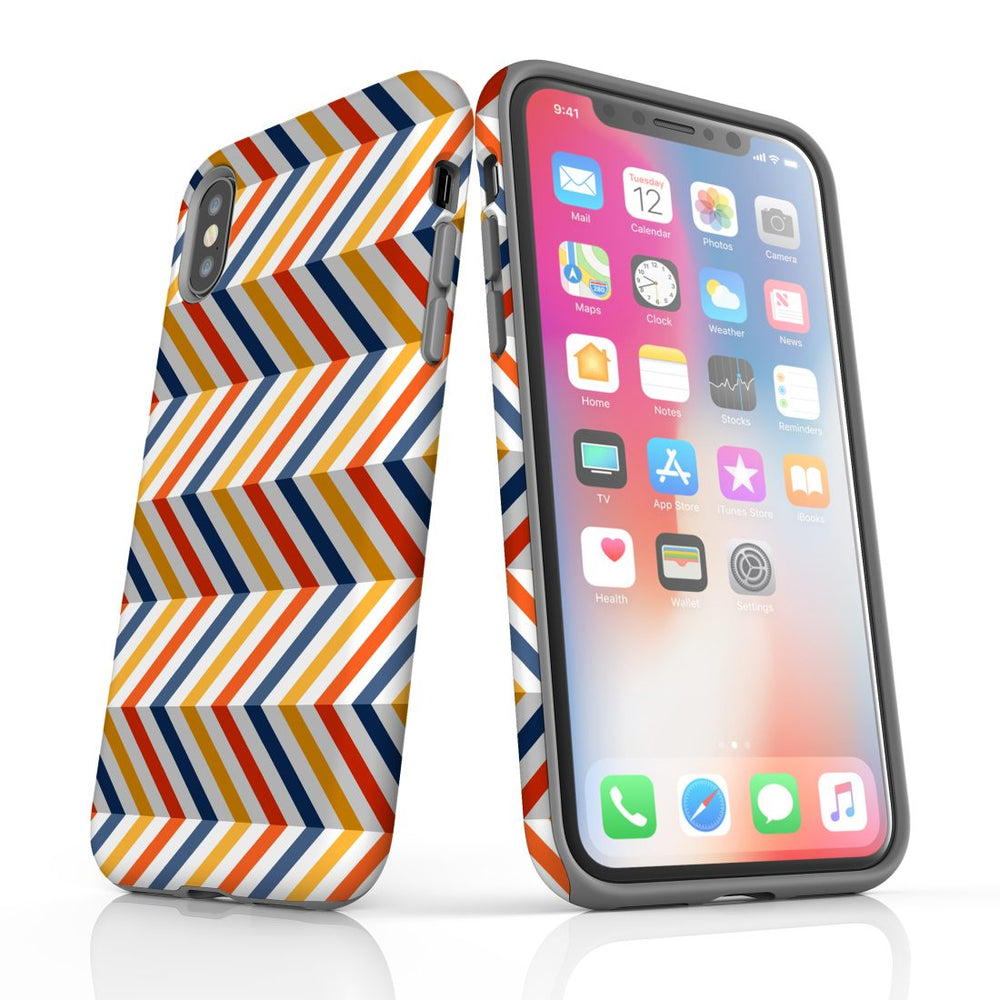 For iPhone XS Max Protective Case, Zigzag Left Right Colorful Pattern