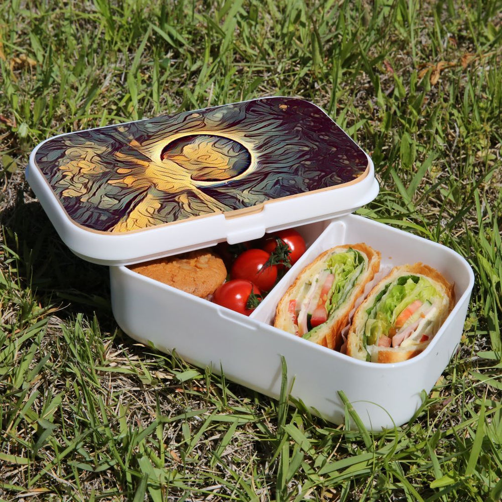Lunch Box Food Container Snack Picnic Authentic Wood Strap Cutlery Anonymous