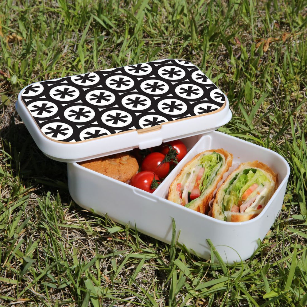 Lunch Box Food Container Snack Picnic Authentic Wood Strap Cutlery Black Stars