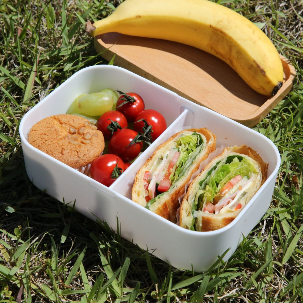 Lunch Box Food Container Snack Picnic Authentic Wood Strap Cutlery Blue Clouds