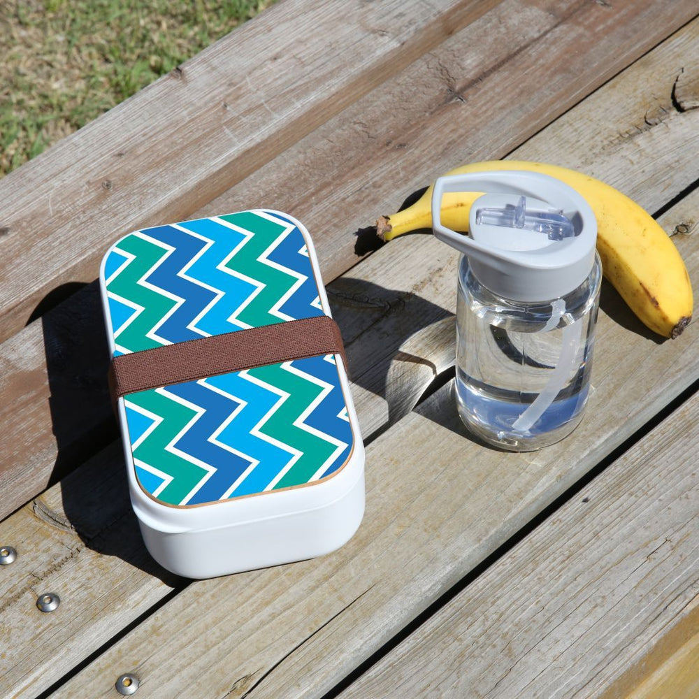 Lunch Box Food Container Picnic Authentic Wood Strap Cutlery Blue Green Abstract