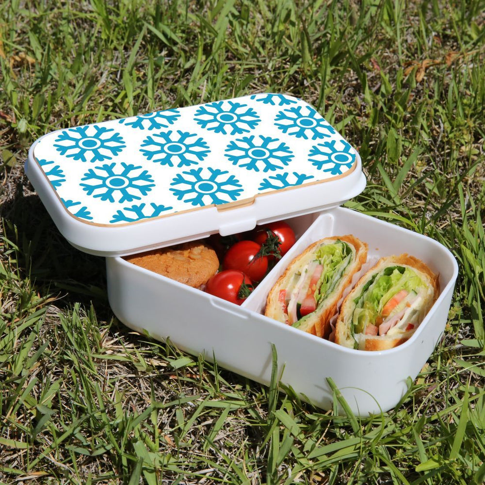 Lunch Box Food Container Picnic Authentic Wood Strap Cutlery Blue Snowflakes