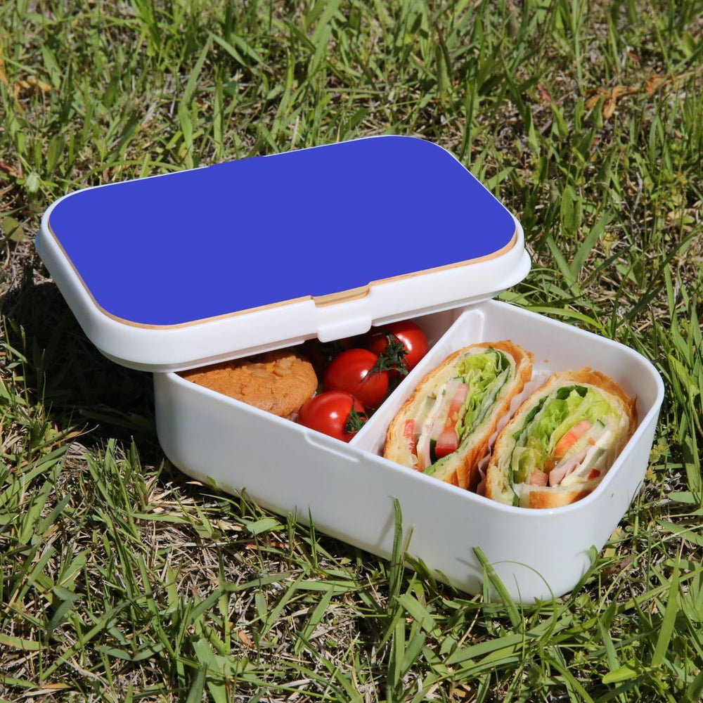 Lunch Box Food Container Snack Picnic Authentic Wood Strap Cutlery Blue