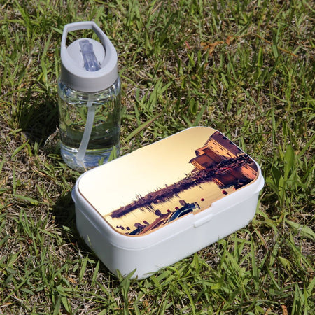 Lunch Box Food Container Snack Picnic Authentic Wood Strap Cutlery Calm