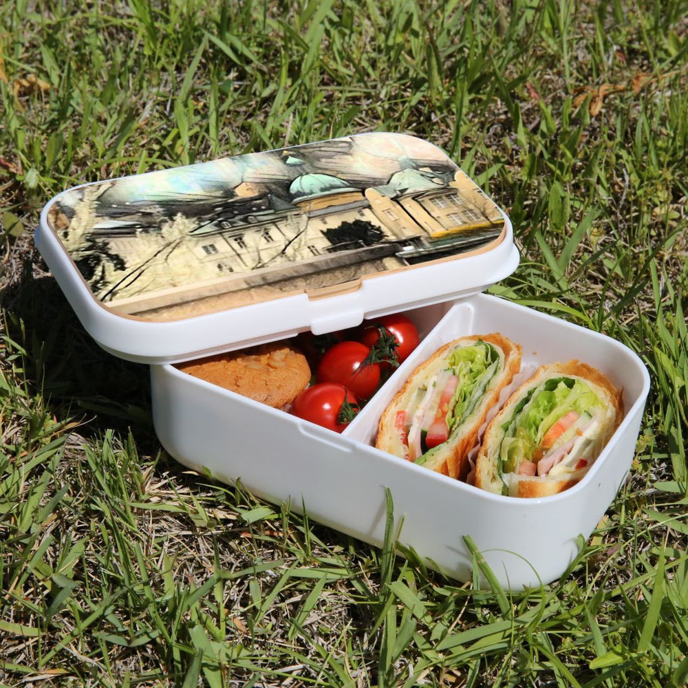 Lunch Box Food Container Snack Picnic Authentic Wood Strap Cutlery Castle