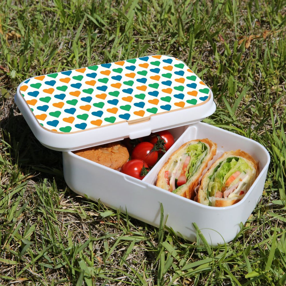 Lunch Box Food Container Picnic Authentic Wood Strap Cutlery Colourful Hearts