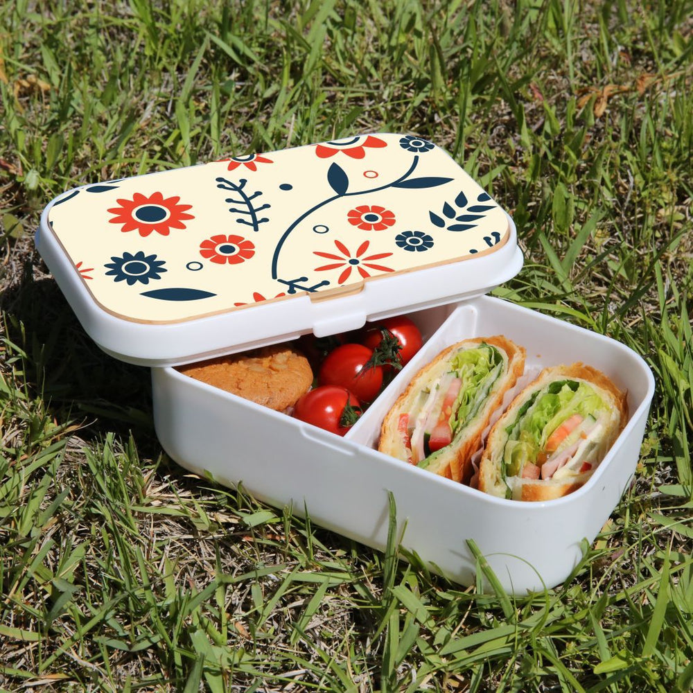 Lunch Box Food Container Picnic Authentic Wood Strap Cutlery Flowers Orange Blue