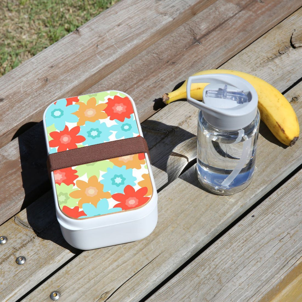 Lunch Box Food Container Snack Picnic Authentic Wood Strap Cutlery Flowers