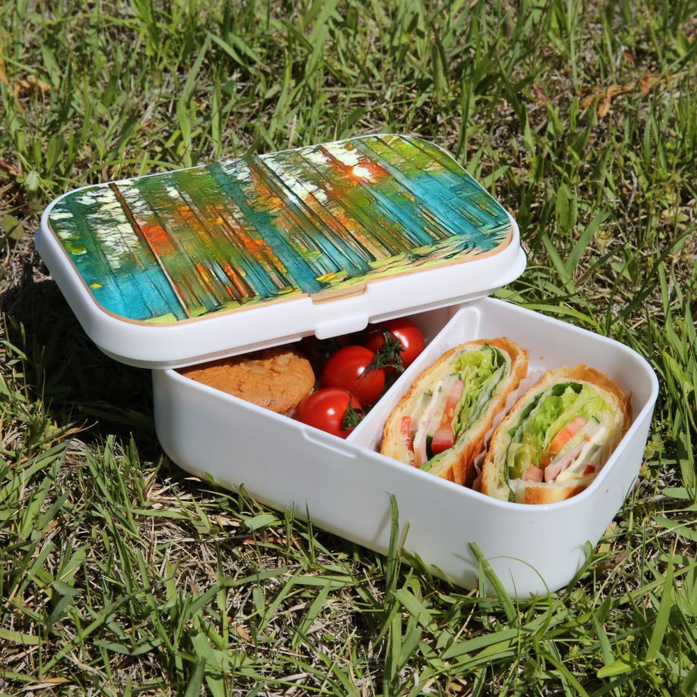 Lunch Box Food Container Snack Picnic Authentic Wood Strap Cutlery Forest