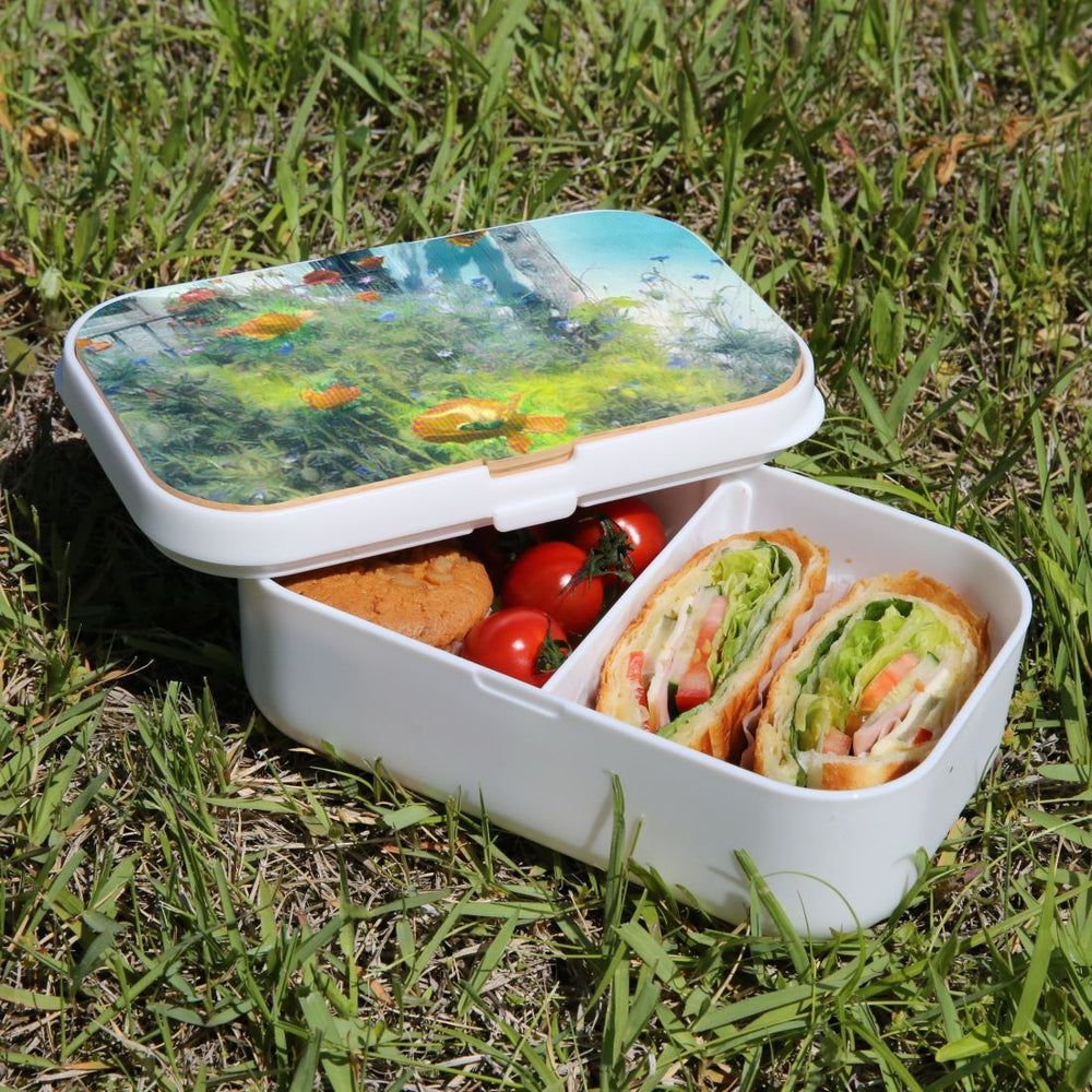 Lunch Box Food Container Snack Picnic Authentic Wood Strap Cutlery Garden